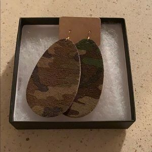 Camo Leather Earrings (New)